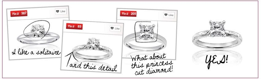 I like a solitare, add this detail, and what about this princess cut diamond?  Yes!