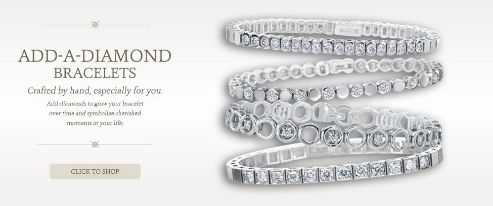Add a Diamond Bracelets.  Crafted by hand.  Especially for you.  Add diamonds to grow your bracelet over time and symbolize cherished moments in your life.  Click to shop.