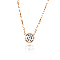 Rose Gold Bezel Diamond Solitare Necklace