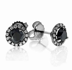 1 1/3 Carat Black & White Diamond Margarita Studs