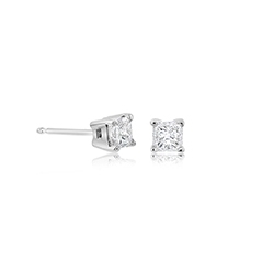 1/2 Carat Diamond Princess Cut Stud Earrings