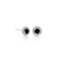 1/3 Carat Black & White Diamond Margarita Stud Earrings