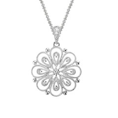 14K White Gold Blossom Necklace