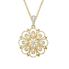 14K Yellow Gold Blossom Necklace