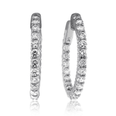 1.91 Carat Inside Out Diamond Hoop Earrings