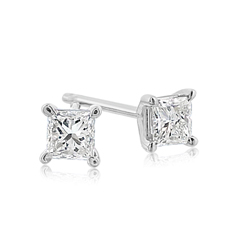 2/3 carat Princess Cut Diamond Stud Earrings