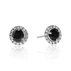 3/4 Carat Black & White Diamond Margarita Studs