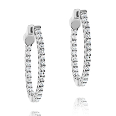 3/4 Carat Inside Out Diamond Hoop Earrings