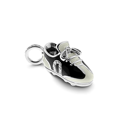AARON BASHA Black and White Enamel Diamond Sport Shoe Charm