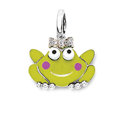 AARON BASHA Frog Princess Charm with Diamond Bow