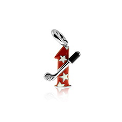 AARON BASHA Red and White Enamel #1 Golf Club Charm