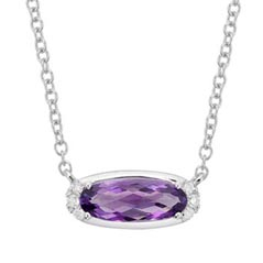 Amethyst & Diamond Birthstone Necklace