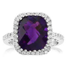 Amethyst & Diamond Fashion Ring