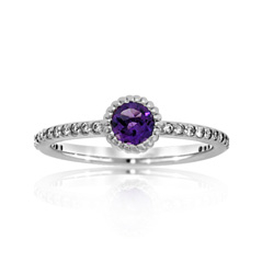 Amethyst & Diamond Stack Ring