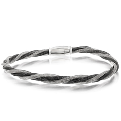 Amore Blackend Rhodium & Sterling Silver Twisted Bracelet