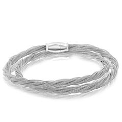 Amore Sterling Silver Plated Double Wrap Bracelet
