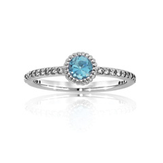 Aquamarine and Diamond Stack Ring
