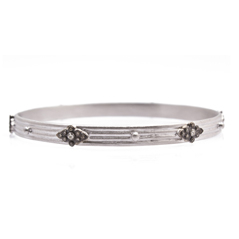 ARMENTA New World Champagne Diamond & White Sapphire Bangle