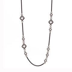 ARMENTA New World Champagne Diamond Scroll Station Necklace