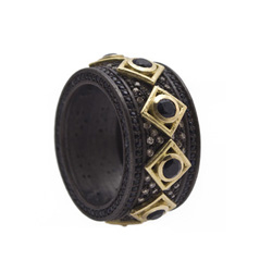 ARMENTA Old World Black Sapphire & Champagne Diamond Ring