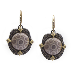 ARMENTA Old World Fossilized Coral & Diamond Earrings