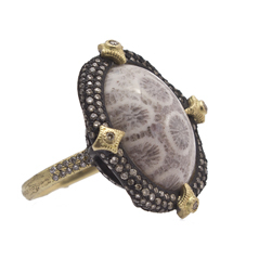 ARMENTA Old World Fossilized Coral & Diamond Ring