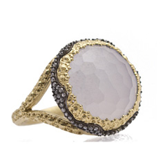 ARMENTA Old World Mother-of-Pearl with Smoky Quartz Doublet Ring