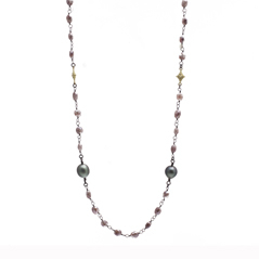 ARMENTA Old World Peach Moonstone & Tahitian Pearl Necklace