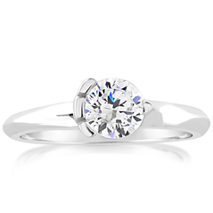 Asymmetrical Solitaire Engagement Ring