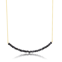 Beaded Bar Necklace in Hematite