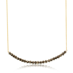 Beaded Bar Necklace in Pyrite
