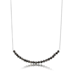Black Diamond Beaded Bar Necklace