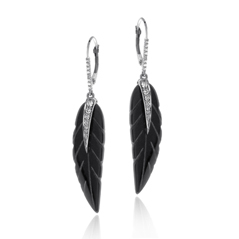 Black Onyx Leaf & Diamond Dangle Earrings
