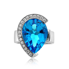 Blue Pear Topaz & Diamond Ring