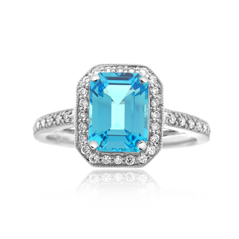 Blue Topaz & Diamond Fashion Ring