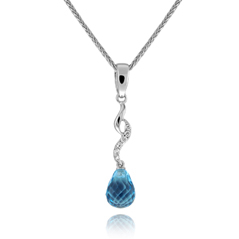 Blue Topaz and Diamond Dangle Necklace