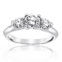 Complete 1.01 Carat Three Stone Diamond Engagement Ring