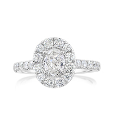 Complete 1.27 Carat Halo Diamond Engagement Ring