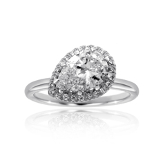 Complete 1.34 Carat Angled Pear Diamond Engagement Ring