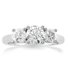 Complete 1.45 Carat Three Stone Diamond Engagement Ring