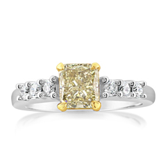 Complete 1.49 Carat Fancy Yellow Diamond Ring