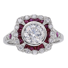 Complete 1.85 Carat Diamond & Ruby Engagement Ring
