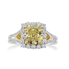 Complete 2.72 Carat Fancy Yellow Diamond Ring