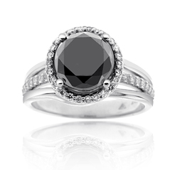 Complete 2.86 Carat Black Diamond Engagement Ring