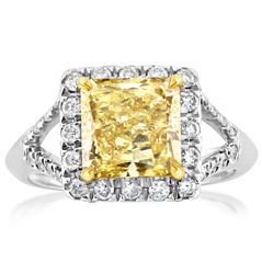 Complete 3.00 Carat Fancy Yellow Diamond Ring