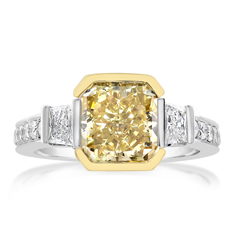 Complete 3.01 Carats Yellow Diamond Ring