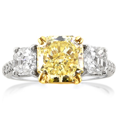 Complete 3.17 Carat Fancy Yellow Diamond Three Stone Ring