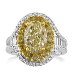 Complete 4.56 Carat Fancy Yellow Diamond Ring