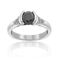 Complete .91 Carat Black Diamond Engagement Ring