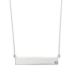 Diamond Bar Nameplate Necklace